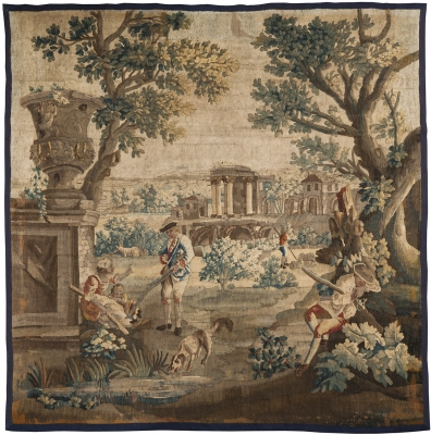 """Escena de caza"" Tapiz de Aubusson. Francia, s. XVIII."