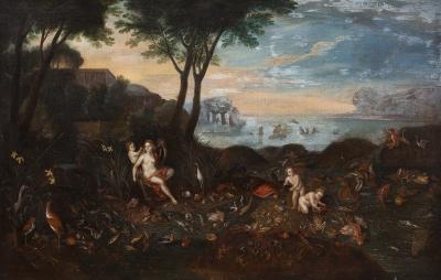"""""""Alegoría del agua"""" Escuela flamenca del siglo XVII, cí"""