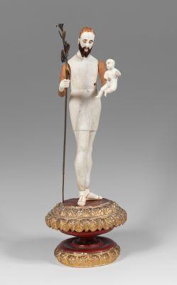 """Figura de vestir """"San José y el Niño Jesús"""" Escuela filipina del siglo XVIII."""
