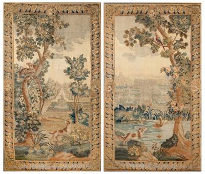 """Escenas de jardín"" Pareja de tapices de Aubusson. Fran"