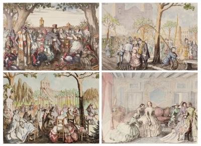 Cuatro litografías coloreadas a mano: