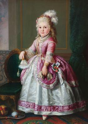 """Escuela española del siglo XIX. """"Retrato de Catalina de Solís""""."""