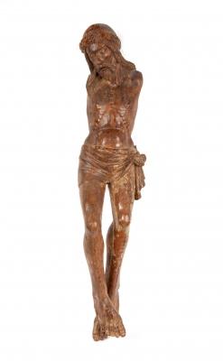 Cristo crucificado del siglo XV.Talla en madera.