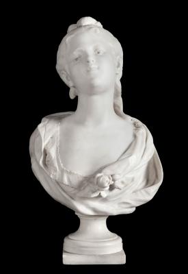 """""""Busto de dama"""". Escuela francesa del siglo XIX."""
