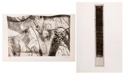 Lote compuesto por dos grabados de: JOSEP GUINOVART BER