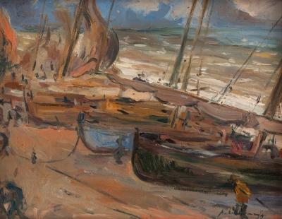 """""""Barcas en la playa"""" ALEXANDRE DE CABANYES MARQUÉS"""