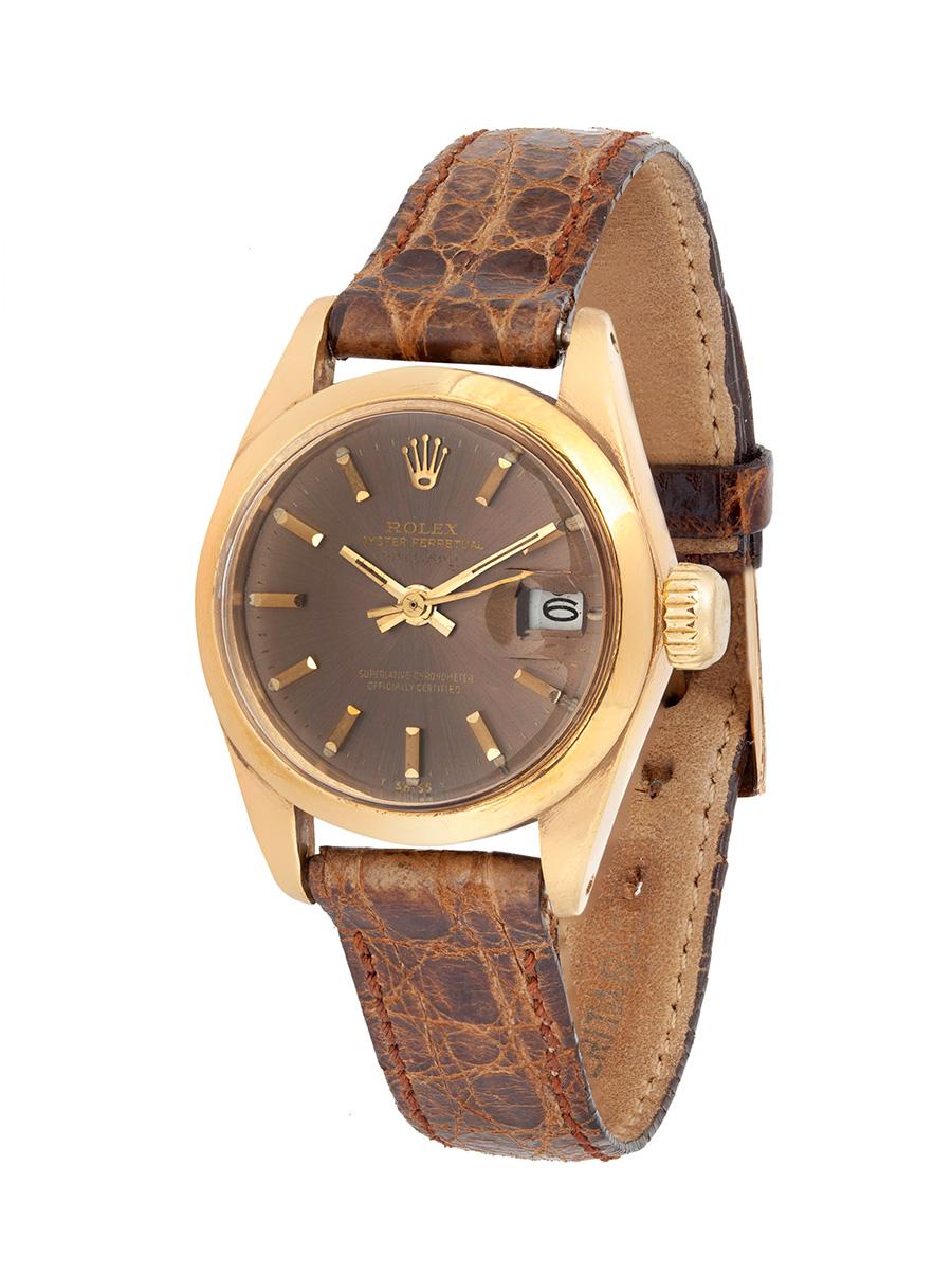 Reloj ROLEX Oyster Perpetual Date Just, año 1981, para señora.En oro de 18 kts.