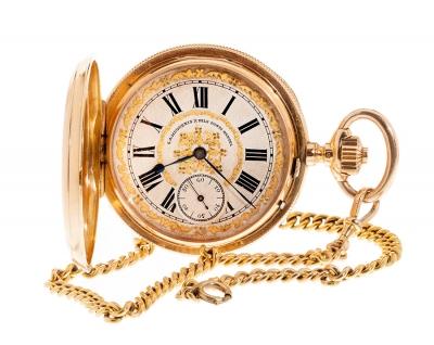 Reloj de bolsillo de tres tapas con leontina en oro ama