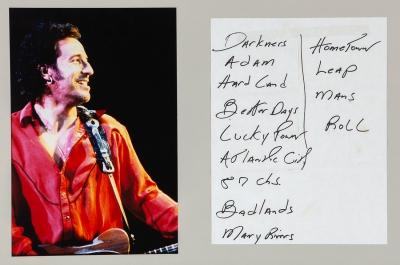 BRUCE SPRNGSTEEN.Fotocopia del setlist manuscrito por el propio Bruce Springsteen, utilizada para uno de sus conciertos.