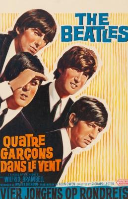 """THE BEATLESCartel original """"Quatre Garçons Dans le Vent (Qué noche la de aquel día)"""".Edición francesa de """"A Hard Day's Night""""."""