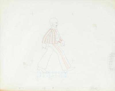 THE BEATLES.Boceto preparatorio para el dibujo final sobre celuloide utilizado en la película animada Yellow Submarine.