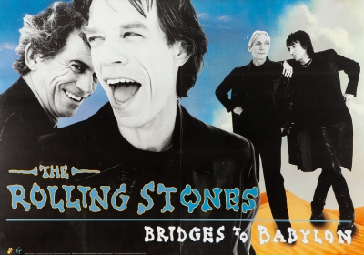 "THE ROLLING STONES Gran poster versión americana ""Bridges of Babylon"" de The Rolling Stones, 1997.."