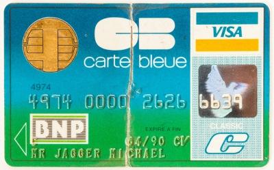 Tarjeta de crédito VISA perteneciente a Mick Jagger, co...