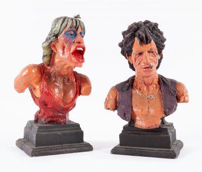 JOHN SOMERVILLE. Pareja de velas con peana de Mick Jagger y Keith Richards, de la mano del escultor John Somerville.