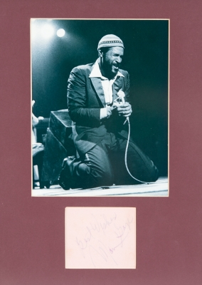MARVIN GAYE.Promotional photograph of Marvin Gaye with original autograph.