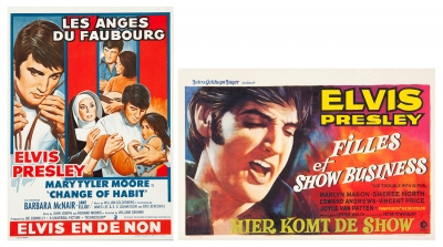 """ELVIS PRESLEY.Conjunto de dos carteles originales de las películas """"Filles et show Business(The Trouble With Girls)"""" y """"Les Anges du Faubourg (Change of Habit)"""" de Elvis Presley."""
