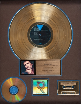 KEITH RICHARDS.Gold Record presented to Virgin Records, commemorating the sale of more than 500,000 copies of the album, cassette and CD