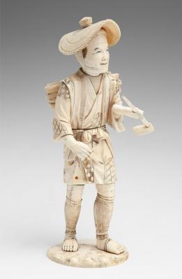 """""""Leñador"""" Talla en marfil. Japón, periodo Meiji, finale"""