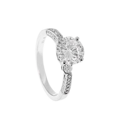 18kts white gold solitaire ring. With central diamond, brilliant cut, color I-J, purity P and ca.