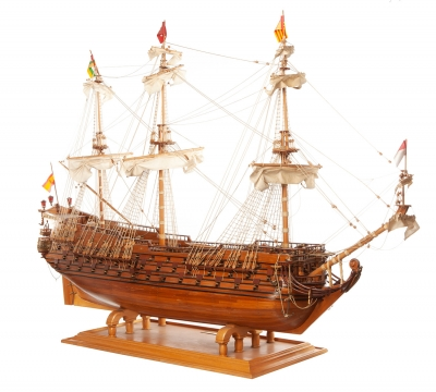 Maqueta de barco velero, años 60-70.Madera.