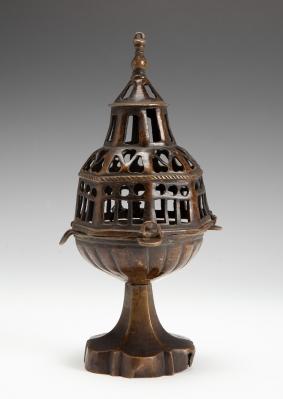 Incensario gótico. España, siglo XV.Bronce.