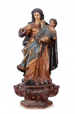 """""""Virgen con Niño"""" Escuela española del siglo XVII."""