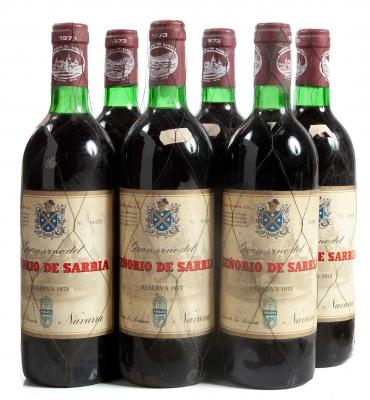 Seis botellas de Señorío de Sarría, Reserva de 1973.
