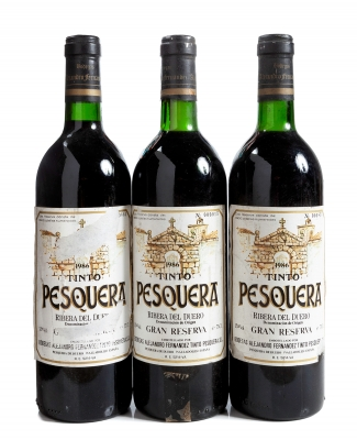 Tres botellas de Tinto Pesquera, Gran Reserva de 1986.