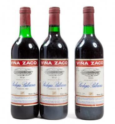 Tres botellas de Zaco, Reserva de 1983 y 1981.