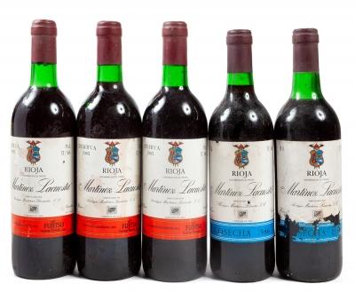 Cinco botellas de Martínez Lacuesta, Reserva 1985 (3),...