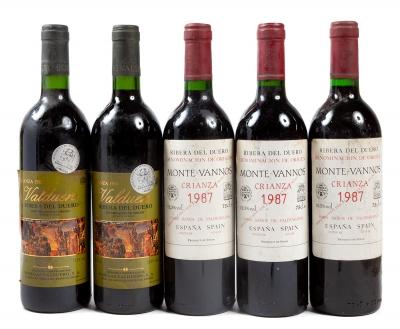 Tres botellas de Montevannos Crianza 1987; Dos botellas...