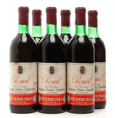 Seis botellas de Bodegas Franco-Españolas Royal, Reserva de 1964.