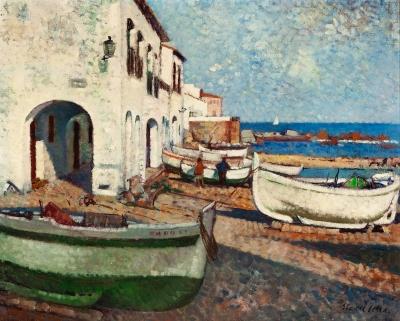 "MANUEL RICART SERRA (Barcelona, 1913). ""Port Bo, Calella de Palafrugell""."