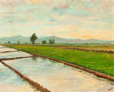 """JOAN PUJOL POCH (1923-2001). """"Campos inundados de la zona de Marina, Hospitalet de Llobregat""""."""
