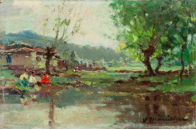 """JOAQUIM MARSILLACH CODONY (Olot, Gerona, 1905 – 1986).""""Paisaje""""."""