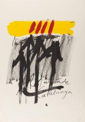 """ANTONI TÀPIES PUIG (Barcelona, 1923 - 2012). """"Als mestres de Catalunya"""", 1974."""