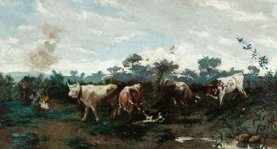 """Escuela catalana del siglo XIX.  """"Paisaje con vacas y figura""""."""