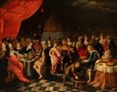 """""""Las bodas de Caná"""" Escuela flamenca. Círculo de Frans Francken El Joven, s.XVII"""