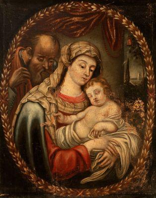 """Sagrada Familia"" Escuela española del siglo XVIII."