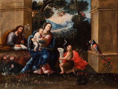 """""""La Sagrada Familia con San Juan Bautista"""" Escuela cuzqueña del siglo XVII. Taller de DIEGO QUISPE TITO"""