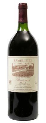 Botella de Remelluri Magnum, Reserva de 1989. Categoría: vino tinto.