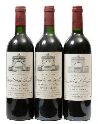Tres botellas de Château Léoville-Las Cases, Grand Vin 1985 1988, 2000. Categoría: vino tinto.