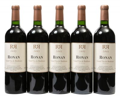 Cinco botellas de Ronan 2005. Categoría: vino tinto.