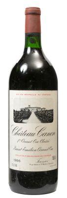 Un botella magnum de Château Canon. Primer Grand Cru Classé 1986.