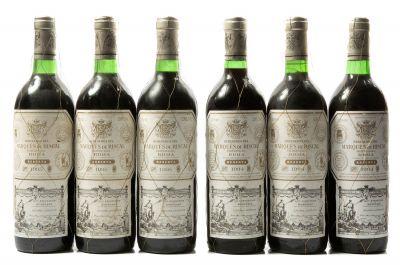 Seis botellas de Marqués de Riscal Reserva 1994 (3) y 1995 (3)  Categoría: vino tinto. D.