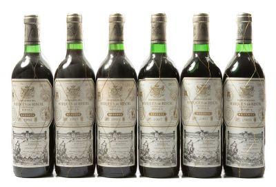 Seis botellas de Marqués de Riscal Reserva, 1992 (1), 1993 (2), 1997(2) y 2003 (1) Categoría: vino tinto. D.