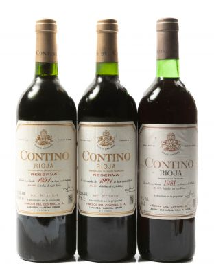 Tres botellas Contino Reserva, 1991 (2), y 1981 (1). Categoría: vino tinto.