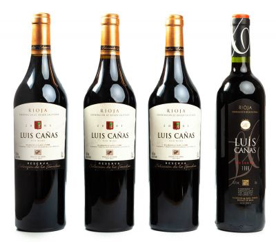 Cuatro botellas de Luis Cañas Reserva de 1999 (1) y 2001 (3). Categoría: vino tinto.