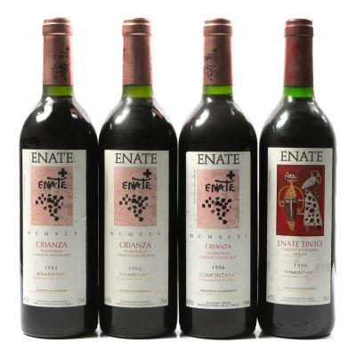 Tres botellas de Enate Crianza, 1995 (2), 1996(1) y una de Enate Tinto, 1996 819. Categoría: vino tinto.
