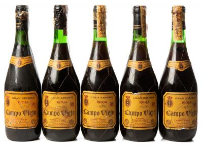 Cinco botellas Campo Viejo, Gran Reserva 1961.